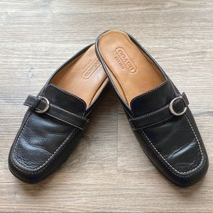 Coach Lange Black Leather Loafers Mules Size 6.5